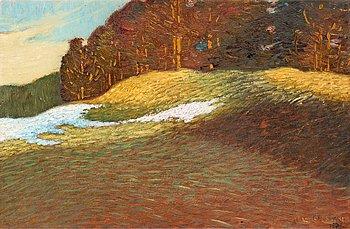 8. HELMER OSSLUND, Vårlandskap med snödrivor.