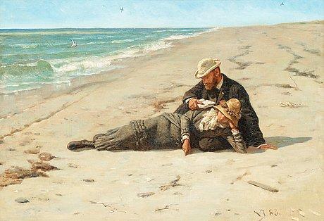 """Valdemar irminger, """"i sommerferien ved vesterhavet"""" (= at the holiday by vesterhavet)."""