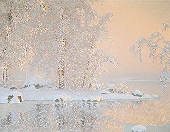12. GUSTAF FJAESTAD, Vinterlandskap med frusen sjö.