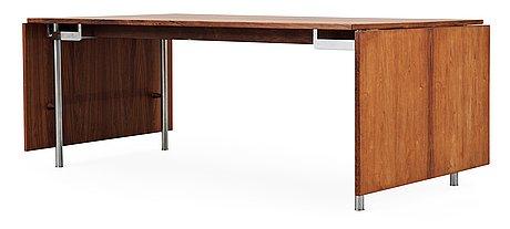 A hans j wegner palisander and steel 'at 319' table, andreas tuck, denmark 1960's.