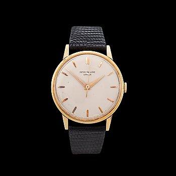 1229. Patek Philippe - Calatrava. Gold. Automatic. Leather strap. Ref. 3411. 34mm. Box and cert.