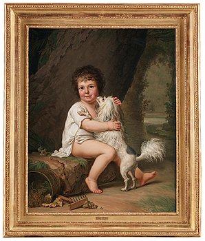 245. Adolf Ulrik Wertmüller, Portrait of the young Henri Bertholet-Campan (1784-1821) with the dog Aline.
