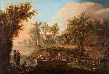 220. Johan Philip Korn, Pastoralt landskap med figurer och båt.