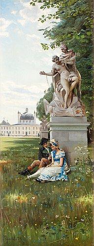 Peder mork mönsted, romantic scene from fredensborgs park.