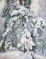 "PEKKA HALONEN, ""SNOWY PINE-TREE"". Sign. 191..."