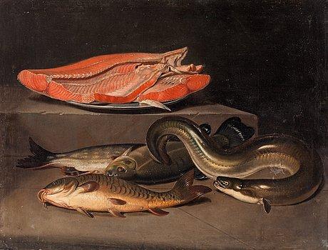 Pehr hilleström, stilleben med fiskar.