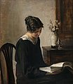 CARL HOLSOE, LADY IN BLACK. Sign. Oil on bo...