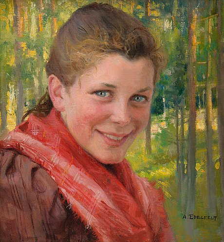 "Albert edelfelt, ""a girl from porvoo (a farmer's daughter from uusimaa)""."