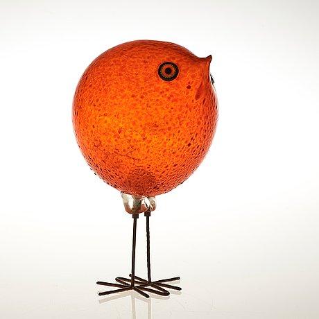 A peter pelzel 'pulcino' glass bird, vistosi, italy 1960's.