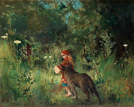 "Carl larsson, ""rödluvan och vargen i skogen"" (little red riding hood and the wolf in the forest)."