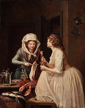 "230. Pehr Hilleström, ""Tvänne Qvinnor, den ena skär skinka, den andra stöter peppar"" (= Two women, one cutting ham the other grinding pepper)."