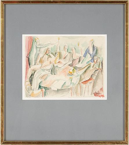 Henri hayden, henri hayden. watercolour/pencil on paper, mounted on rice paper. sign hayden.