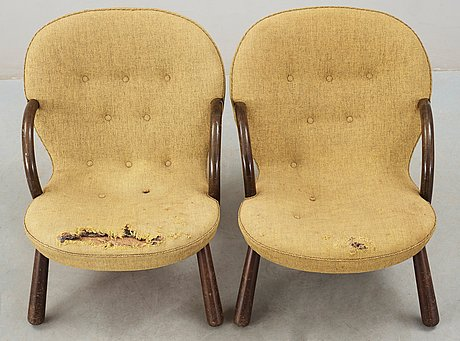 A pair of easy chairs, attributed to philip arctander, probably for vik & blindheim, norway 1950's.