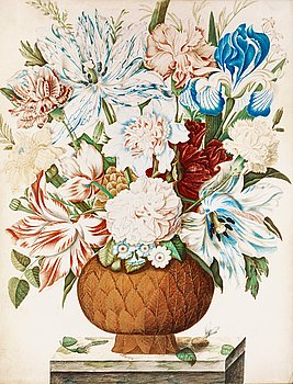 333. Maria Sybilla Merian Attraibuted to, Still life with flowers.