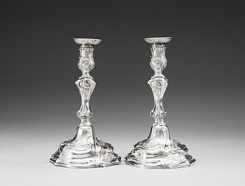 793. A pair of Swedish 18th century silver canlesticks, marks of Mikael Åström, Stockholm 1765.