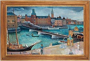 "85. ERIC HALLSTRÖM, ""Tegelbacken"" (""Järnvägsbron, Tegelbacken"")."