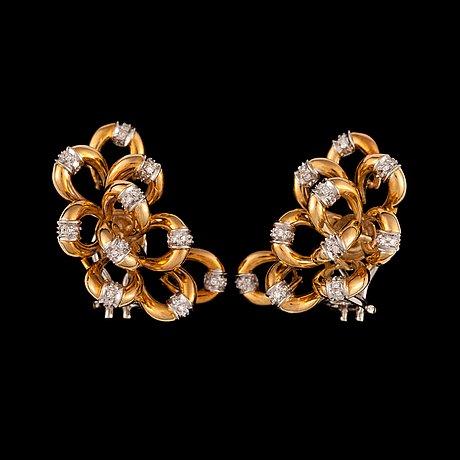 A pair of single cut diamond, circa 0.60 ct, earrings.