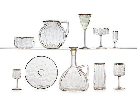 A koloman moser 111 pcs 'meteor' art nouveau glass service, for e bakalowits & söhne, vienna ca 1910.