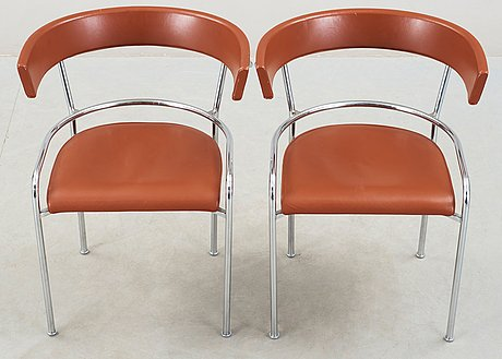 A pair of gunnar asplund chromed steel and leather armchairs by källemo, sweden post 1988.