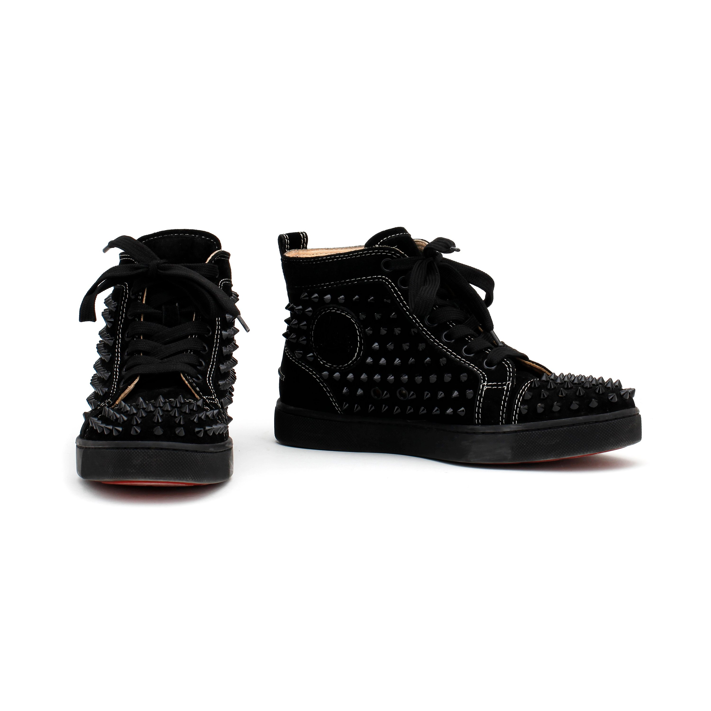 Christian Louboutin A Pair Of Black Suede Sneakers Louis Women S