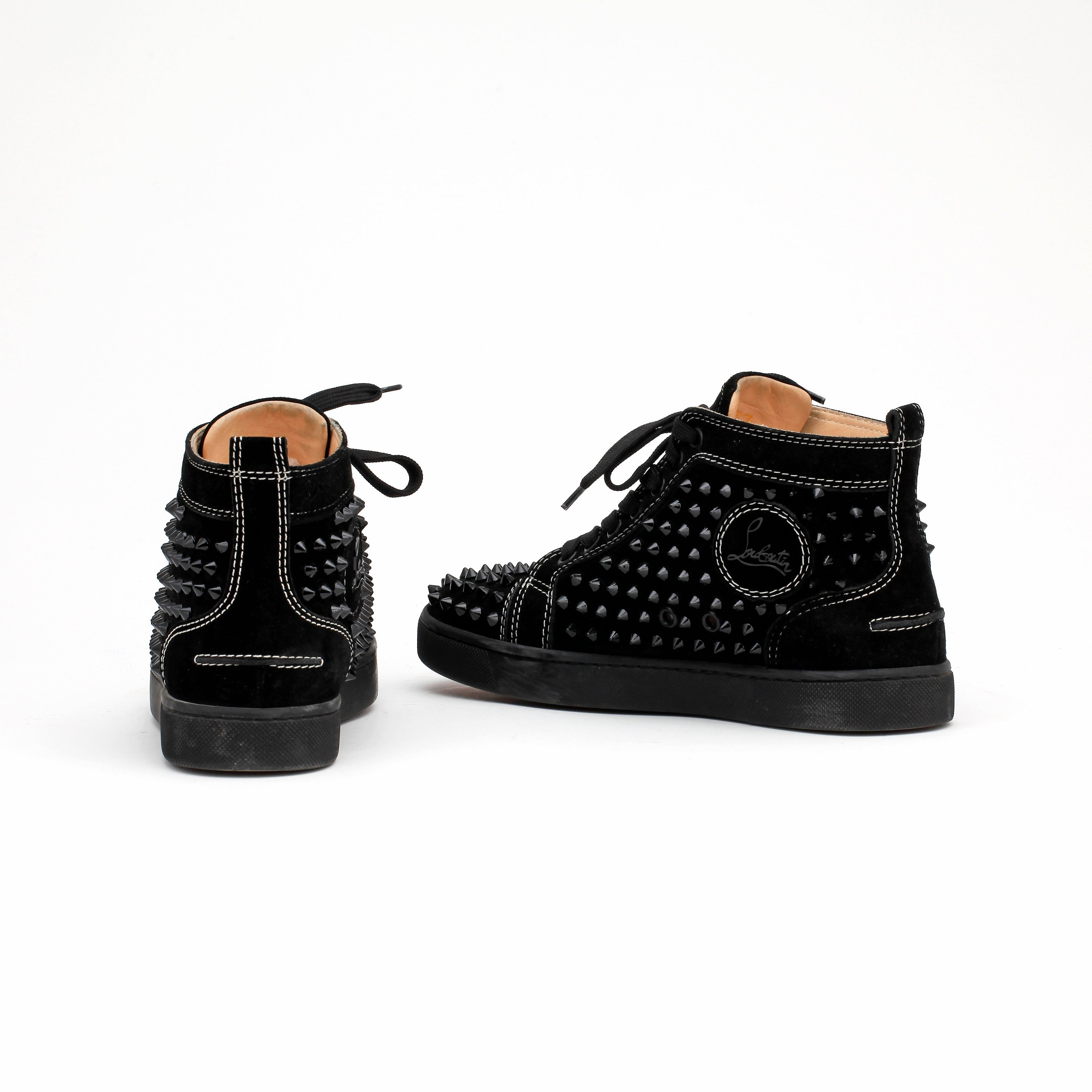 info for 670b7 c1db1 CHRISTIAN LOUBOUTIN, a pair of black suede sneakers,