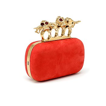 "804. ALEXANDER MCQUEEN, a red nubuc leather ""Knucklebox Clutch""."