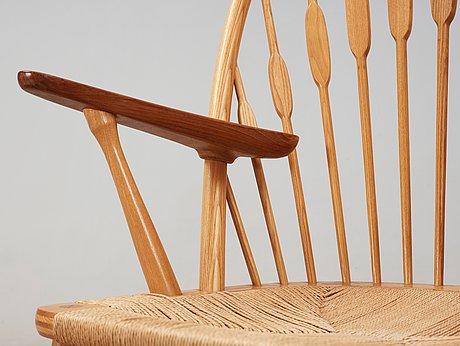 A hans j wegner ash and teak 'peacock chair', johannes hansen, denmark.