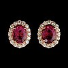 A pair of toumaline, circa 5.69 cts, and diamond, total circa 1.53 cts, earrings.