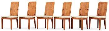 532. A set of six Axel Einar Hjorth stained pine 'Lovö' chairs, Nordiska Kompaniet.