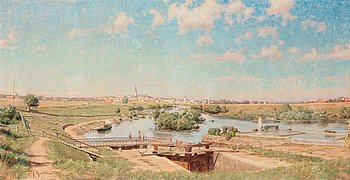 """68. JOHAN KROUTHÉN, """"Totalvy över Linköping från Tannefors 1884""""."""