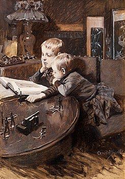 90. OSCAR BJÖRCK, Children reading.