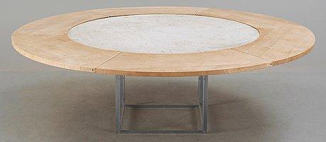 A poul kjaerholm marble top 'pk-54' dining table, fritz hansen, denmark 1986.