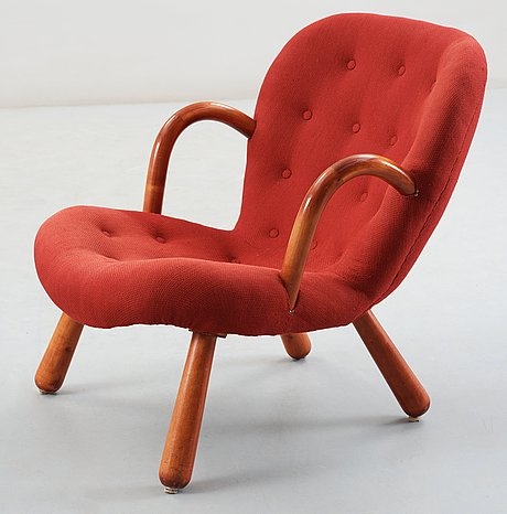 A 1940's-50's 'clam chair' attributed to philip arctander for möbelstil, jönköping, sweden.