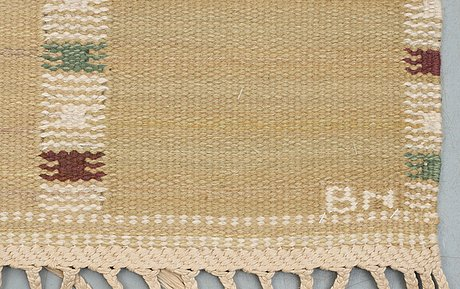 "Carpet. ""falurutan gul"". flat weave. 206,5 x 140,5 cm. signed ab mmf bn."