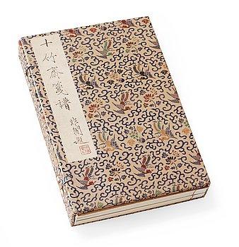 """206B. BOK med TRÄSNITT, 4 volymer, """"Shi zhu zhai jian pu"""" av Hu Zhengyan."""