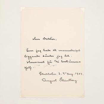 AUGUST STRINDBERG (1849-1912), egenhändigt brevkort med signatur, dat Stockholm 4 aug 1903.