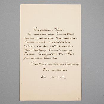 EDVARD MUNCH (1863-1944), egenhändigt brev med signatur.