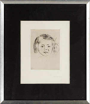 """EDVARD MUNCH, Torrnål, 1905. Bär påskrift """"Munch"""" i blyerts."""