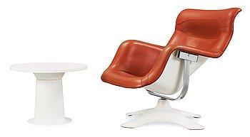 11. A Yrjö Kukkapuro 'Karuselli' easy chair and a 'Saturnus' table, Haimi, Finland 1960-70's.