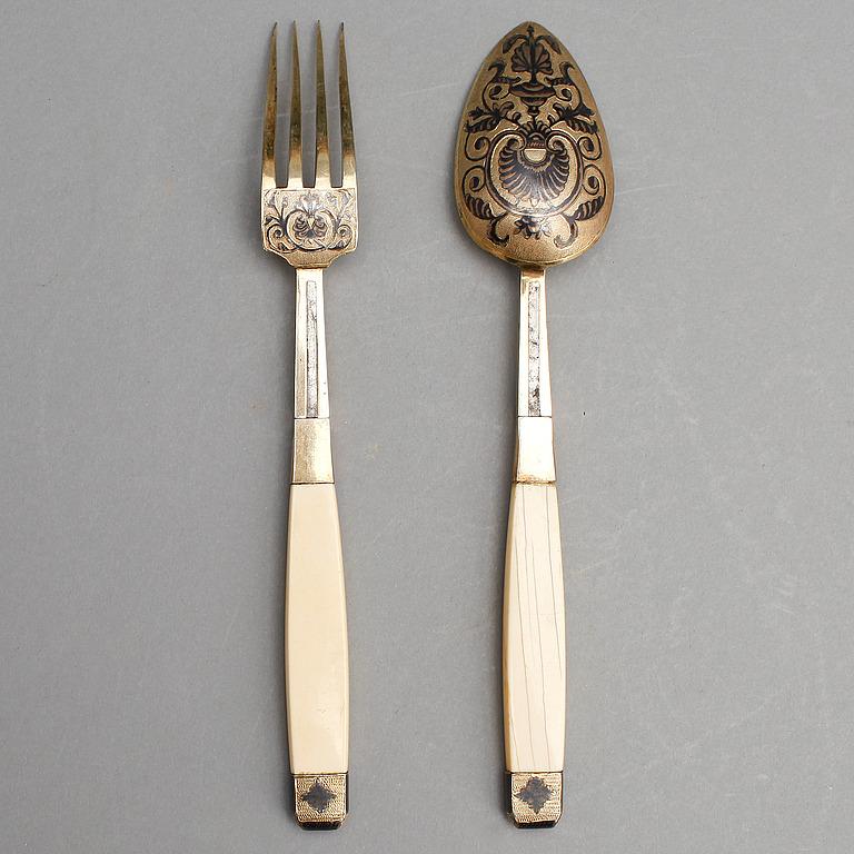 RESEBESTICK, förgyllt silver, niello, ben, Moskva 1830-tal, oidentifierad mästare.