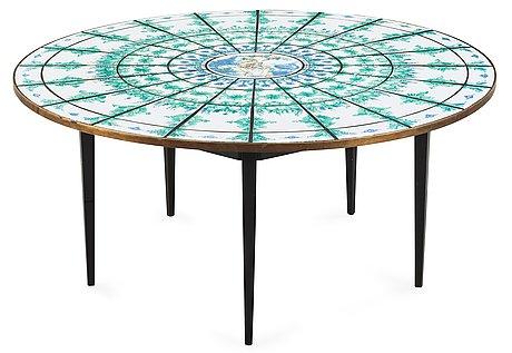 A björn wiinblad tiled top dining table, denmark 1974.