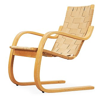 8. An Alvar Aalto laminated beech and webbing armchair, model 406, Svenska AB Artek, Hedemora, Sweden 1946-56.