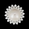 A cultivated south sea pearl, circa 14.5 mm, and diamond, total gem weight circa 3.06 cts. quality circa h/vs-si.