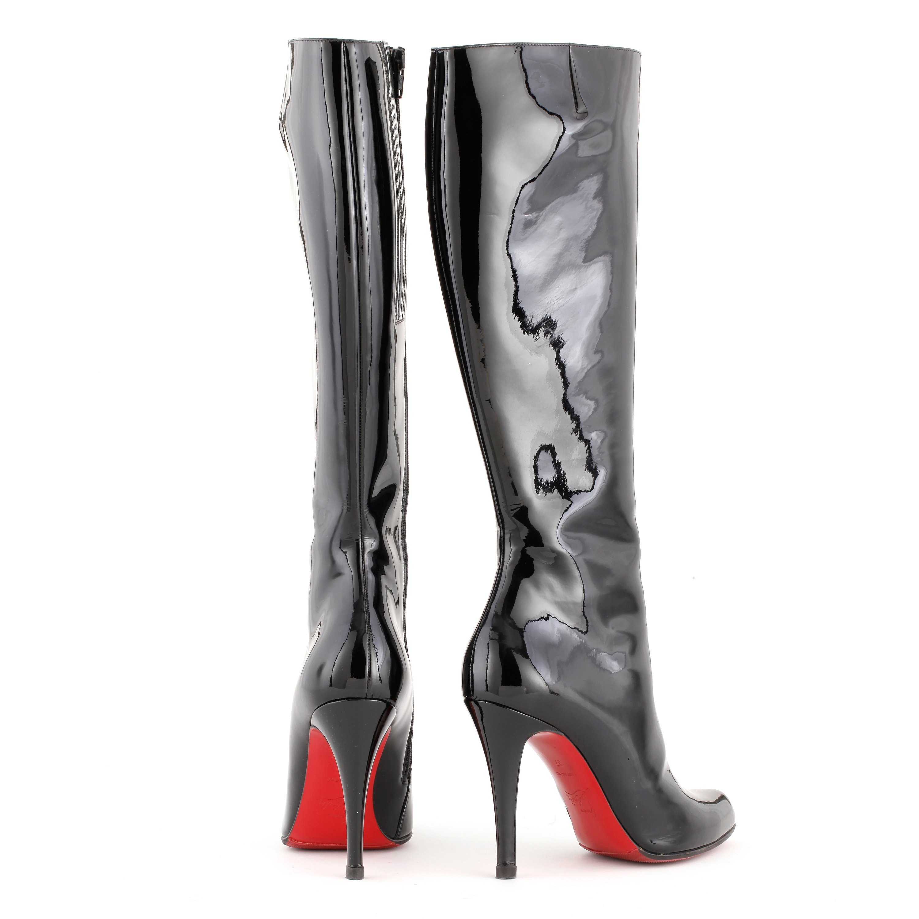 2af0012a23b CHRISTIAN LOUBOUTIN, a pair of black patent leather high heeled ...