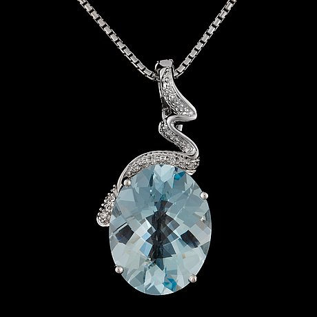 A checker cut aquamarine, ca 12.09 cts, and diamond, ca 0.1 ct, pendant.