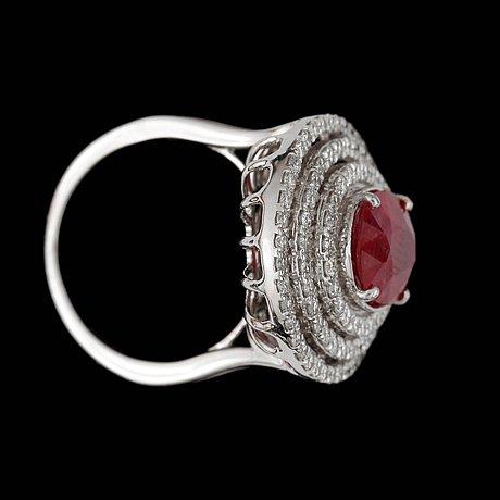 A ruby, circa 3.78 cts, and diamond, circa 0.92 ct, ring.