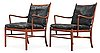A pair of ole wanscher palisander and black leather 'colonial chairs, pj 149', poul jeppesen, denmark.