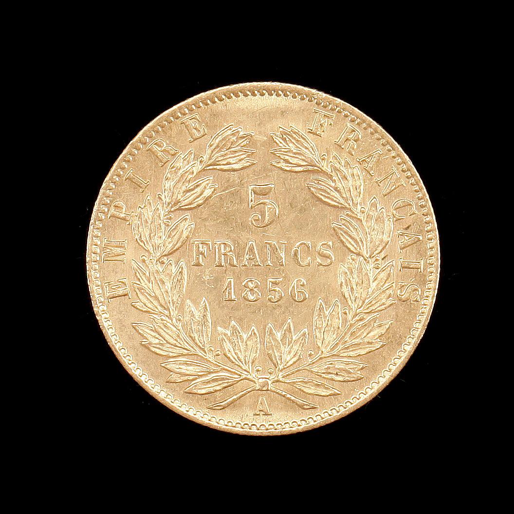 MYNT, 21, 6K guld, 5 franc, Napoleon III, Frankrike, 1856