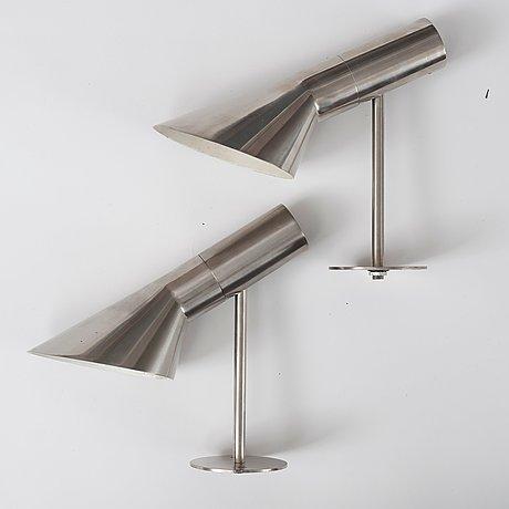 A pair of arne jacobsen steel 'aj' wall lights, louis poulsen, denmark.