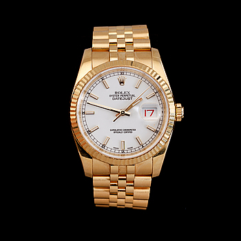 1068. A Rolex Datejust men's wristwatch. 18K gold. Automatic. Ø 36 mm. Circa 2008.
